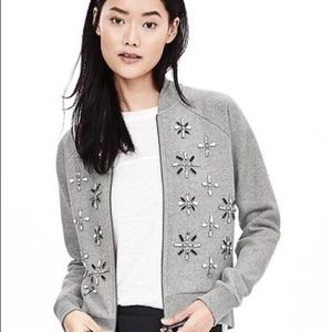 Banana Republic gray embellished bomber jacket